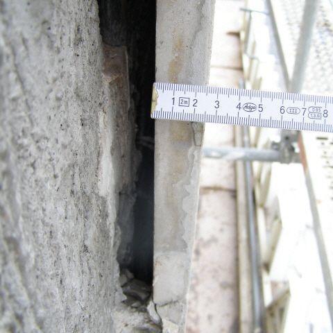 Natursteinfassade - Prüfung Abstand Sicherheit